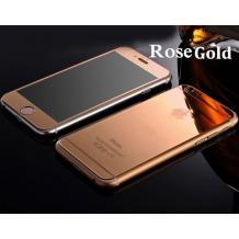 Стъклен скрийн протектор / 9H Tempered Glass Colorful Mirror Screen Protector / 2 в 1 за Apple iPhone 7 - златен /Rose Gold / лице и гръб