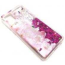 Луксозен гръб 3D Water Case за Huawei Y5p - течен гръб с розов брокат / прозрачен с розови цветя
