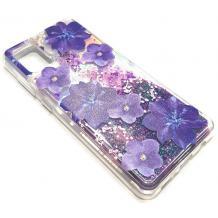 """Луксозен гръб 3D Water Case за Apple iPhone 12 Pro Max 6.7"""" - течен гръб с брокат / прозрачен с лилави цветя"""