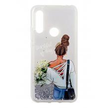 Луксозен твърд гръб 3D Water Case за Huawei P40 lite E - течен гръб със сребрист брокат / Girl