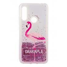 Луксозен твърд гръб 3D Water Case за Huawei P40 lite E - течен гръб с розов брокат / Drakaple