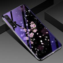 Луксозен стъклен твърд гръб със силиконов кант за Huawei Nova 5T / Honor 20 - лилави цветя