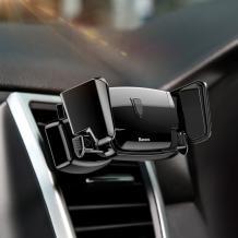 Универсална стойка за кола Baseus Robot Auto Clip Car Mount за Samsung, Apple, Huawei, Lenovo, LG, HTC, Sony, Nokia, ZTE - черна / въртяща се на 360 градуса