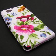 Силиконов гръб TPU / калъф / за Sony Xperia Z1 Compact D5503 - бял с розови цветя