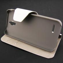 Луксозен кожен калъф Flip тефтер със стойка за Alcatel One Touch Idol 2 mini OT-6016 - бял