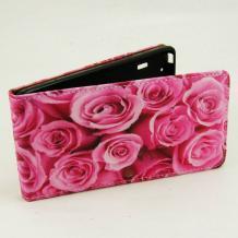 Кожен калъф Flip тефтер Flexi за Sony Xperia M2 / Xperia M2 Aqua - розов / рози