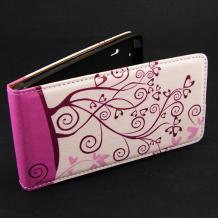 Кожен калъф Flip тефтер Flexi за Sony Xperia M2 / Xperia M2 Aqua - бяло и розово / Floral