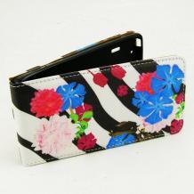 Кожен калъф Flip тефтер Flexi за Sony Xperia M2 / Xperia M2 Aqua - бяло и черно / цветя