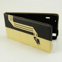 Кожен калъф Flip тефтер Flexi за Sony Xperia M2 / Xperia M2 Aqua - черно и жълто / Nike