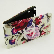 Кожен калъф Flip тефтер Flexi за Sony Xperia M2 / Xperia M2 Aqua - цветен / цветя