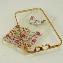Луксозен силиконов калъф / гръб / TPU с камъни за Samsung Galaxy J5 / Samsung J5 - пеперуда и цветя / Eternity / златист кант