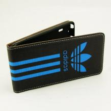 Кожен калъф Flip тефтер Flexi за Sony Xperia M2 / Xperia M2 Aqua - черно и синьо / Adidas