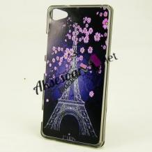 Силиконов калъф / гръб / TPU за HTC Desire 12 - Айфелова кула / розови цветя