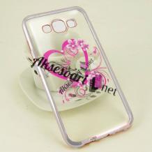 Луксозен силиконов калъф / гръб / TPU с камъни за Samsung Galaxy J5 / Samsung J5 - розово сърце / сребрист кант
