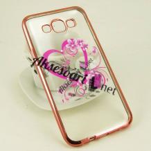 Луксозен силиконов калъф / гръб / TPU с камъни за Samsung Galaxy J5 / Samsung J5 - розово сърце / меден кант