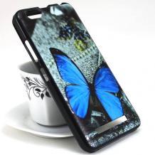 Силиконов калъф / гръб / TPU за Meizu M6 Note - сив / синя пеперуда