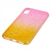 Луксозен силиконов калъф / гръб / TPU за Apple iPhone X / iPhone XS - призма / розово и жълто / брокат