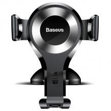 Универсална стойка за кола Baseus Osculum Gravity Car Mount за Samsung, Apple, Huawei, Lenovo, LG, HTC, Sony, Nokia, ZTE, Xiaomi - черна със сребристо / въртяща се на 360 градуса