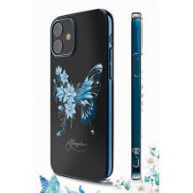 Луксозен твърд гръб KINGXBAR Swarovski Diamond за Apple iPhone 12 /12 Pro 6.1'' - прозрачен със син кант / синя пеперуда