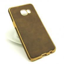Силиконов калъф / гръб / TPU за Samsung Galaxy C5 - тъмно кафяв / имитиращ кожа