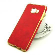 Силиконов калъф / гръб / TPU за Samsung Galaxy C5 - червен / имитиращ кожа