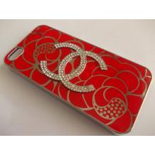 Луксозен предпазен твърд гръб / капак / с камъни за Apple iPhone 5 / iPhone 5S - червен с фигури