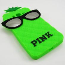 Силиконов калъф / гръб / TPU 3D за Samsung Galaxy Grand Prime G530 - зелен ананас / очила