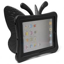 Силиконов гръб 3D за Apple iPad 2 / ipad 3 / iPad 4 - черен / пеперуда