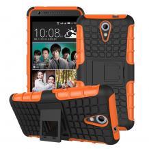 Силиконов гръб TPU Hybrid с твърда част и стойка за HTC Desire 620 - черно и оранжево