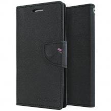 Луксозен кожен калъф Flip тефтер със стойка MERCURY Fancy Diary за ZTE Blade L3 - черен