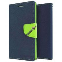 Луксозен кожен калъф Flip тефтер със стойка MERCURY Fancy Diary за ZTE Axon 7 mini - тъмно син със зелено