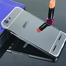 Луксозен алуминиев бъмпер с твърд гръб за Lenovo Vibe K5 / Vibe K5 Plus / A6020 - тъмно сив / огледален