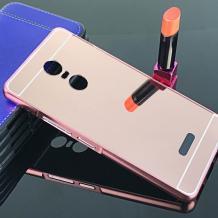 Луксозен алуминиев бъмпер с твърд гръб за Lenovo K6 Note - Rose Gold / огледален