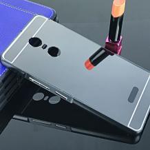 Луксозен алуминиев бъмпер с твърд гръб за Lenovo K6 Note - черен / огледален