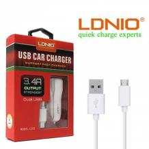 Универсално зарядно за кола LDNIO C331 Car Charger 12V / 2 Micro USB порта и USB кабел 3.4A  за Samsung, Lenovo, LG, HTC, Sony, Nokia, Huawei, ZTE, BlackBerry, Xiaomi и др. - бял