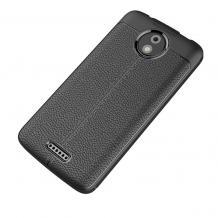 Луксозен силиконов калъф / гръб / TPU за Lenovo Moto C Plus - черен / имитиращ кожа