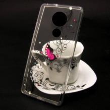 Луксозен силиконов калъф / гръб / TPU за Nokia 6.2 - прозрачен / розова пеперуда