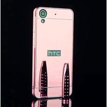 Луксозен алуминиев бъмпер с твърд гръб за HTC Desire 650 - розов / огледален