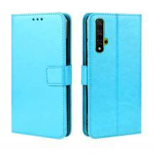 Кожен калъф Flip тефтер Flexi със стойка за Huawei Nova 5T / Honor 20 - светло син