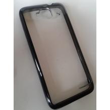 Заден предпазен твърд гръб / капак / за Alcatel One Touch Idol Mini OT 6012X - прозрачен / черен кант