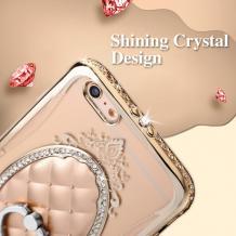 Луксозен силиконов калъф / гръб / със стойка TPU 3D SHENGO за Apple iPhone 7 - ромбове / златист кант