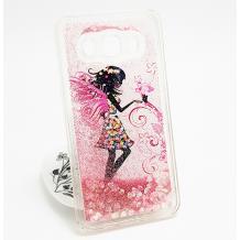 Луксозен твърд гръб 3D за Samsung Galaxy J5 J500 - Fairy / розов брокат със сърца