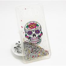 Луксозен твърд гръб 3D за Samsung Galaxy J5 J500 - Skull / сребрист брокат със звездички
