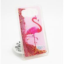 Луксозен твърд гръб 3D за Samsung Galaxy J5 J500 - Flamingo / розов брокат със звездички