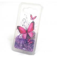 Луксозен твърд гръб 3D за Samsung Galaxy J5 J500 - прозрачен / пеперуди / лилав брокат