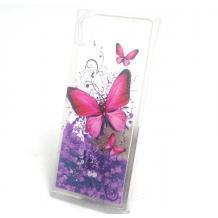 Луксозен твърд гръб 3D за Sony Xperia XA1 - прозрачен / пеперуди / лилав брокат