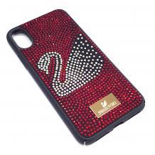 Луксозен твърд гръб Swarovski за Apple iPhone XR - черен / червени камъни / Swan