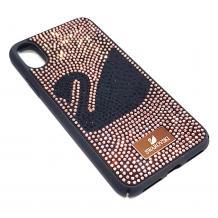 Луксозен твърд гръб Swarovski за Apple iPhone XS Max - черен / Rose Gold камъни / Swan