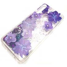 Луксозен гръб 3D Water Case за Huawei Y6p - течен гръб с брокат / прозрачен с лилави цветя