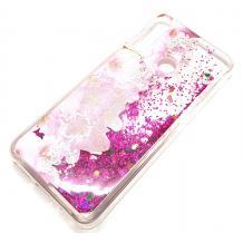 Луксозен гръб 3D Water Case за Huawei Y6p - течен гръб с розов брокат / прозрачен с розови цветя